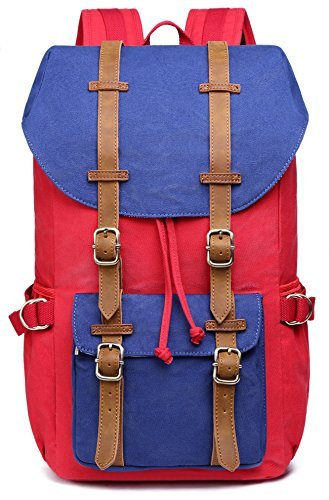 EverVanz-Outdoor-Canvas-Leather-Backpack-Travel-Hiking-Camping-Rucksack-Pack-Large-Casual-Daypack-College-School-Backpack-Shoulder-Bags-Fits-15-Laptop-Tablets-0