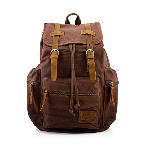 GEARONIC-TM-Men-21L-Vintage-Canvas-Backpack-Leather-Laptop-School-Military-0