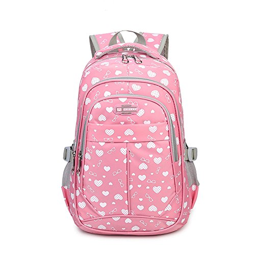 Hearts-Print-School-Backpacks-For-Girls-Kids-Elementary-School-Bags-Bookbag-0