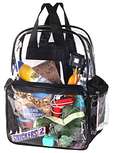 Heavy-Duty-Clear-See-Through-Transparent-Backpack-for-School-Students-BookBag-WorkBag-Daypack-Easy-Stadium-Security-Check-Bag-Black-Reinforced-Adjustable-shoulder-straps-for-extra-durability-0