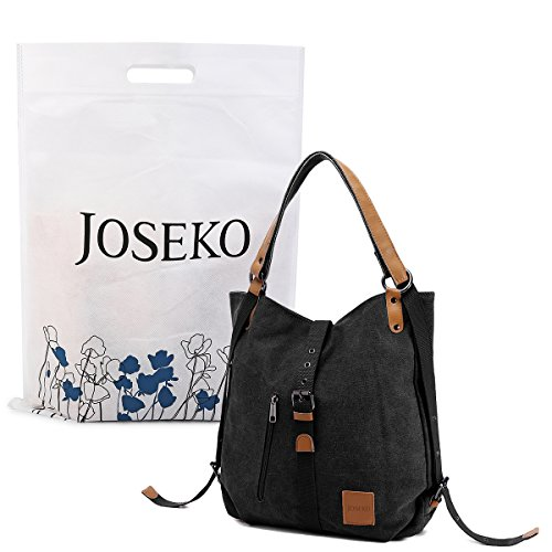 Multifunctional-Canvas-Bag-JOSEKO-Women-Convertible-Backpack-Purse-Ladies-Shoulder-Bag-Casual-Handbag-0