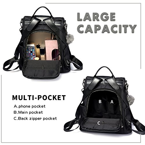f961fcf66a8 Women Backpack Purse Waterproof Nylon Anti-theft Rucksack Lightweight  Shoulder Bag