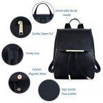 COOFIT-Black-Faux-Leather-Backpack-for-Women-Schoolbag-Casual-Daypack-0-2