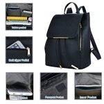 COOFIT-Black-Faux-Leather-Backpack-for-Women-Schoolbag-Casual-Daypack-0-3