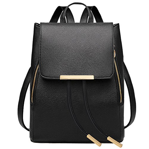 COOFIT-Black-Faux-Leather-Backpack-for-Women-Schoolbag-Casual-Daypack-0